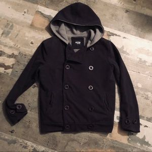 Extra warm double breasted button & zip up hoodie